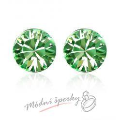 Náušnice Zelený krystal s krystaly Swarovski Elements