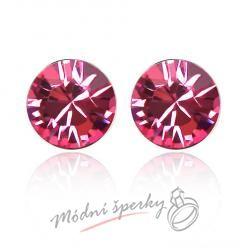 Náušnice Růžový krystal s krystaly Swarovski Elements