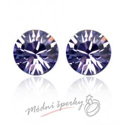 Náušnice Tmavě fialový krystal s krystaly Swarovski Elements