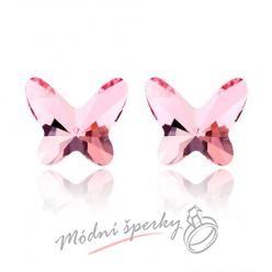 Náušnice Motýlci rose s krystaly Swarovski Elements
