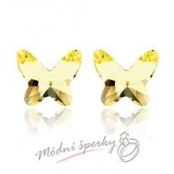 Náušnice Motýlci žlutí s krystaly Swarovski Elements