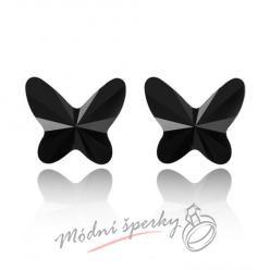 Náušnice Motýlci černí s krystaly Swarovski Elements