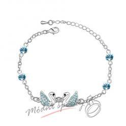 Náramek s krystaly Swarovski Elements labuťky modré