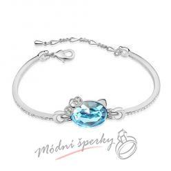 Náramek s krystaly Swarovski Elements kočičí hlava aquamarine