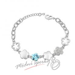 Náramek s krystaly Swarovski Elements aquamarine flower