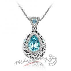 Modrá slza s ornamenty - krystaly Swarovski elements