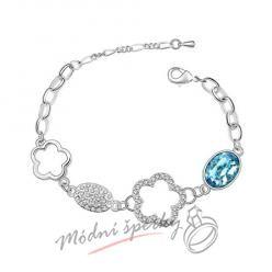 Náramek s krystaly Swarovski Elements Happy aquamarine