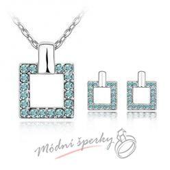 Čtvercový set modrý– s krystaly SWAROVSKI ELEMENTS