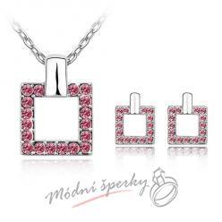 Čtvercový set růžový– s krystaly SWAROVSKI ELEMENTS