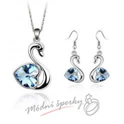 Set blue cute swan s krystaly SWAROVSKI ELEMENTS