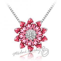 Červená květina s krystaly Swarovski elements