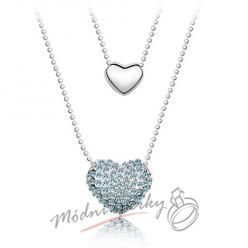 Srdce s modrými krystaly Swarovski elements