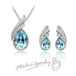 Set blue tear s krystaly SWAROVSKI ELEMENTS
