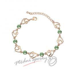 Náramek s krystaly Swarovski Elements two hearts zelené - gold