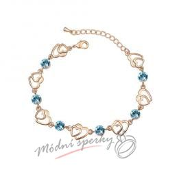 Náramek s krystaly Swarovski Elements two hearts modré - gold