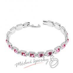 Náramek s krystaly Swarovski Elements krychličky růžové