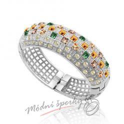 Náramek s krystaly Swarovski Elements giant gold & green