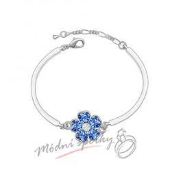 Náramek s krystaly Swarovski Elements květina tmavě modrá