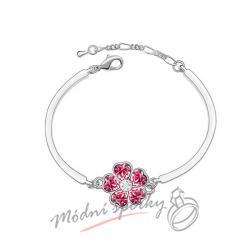 Náramek s krystaly Swarovski Elements květina růžová