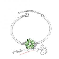 Náramek s krystaly Swarovski Elements květina zelená