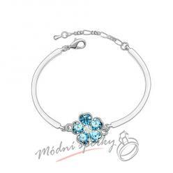 Náramek s krystaly Swarovski Elements květina aquamarine