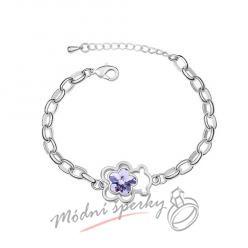 Náramek s krystaly Swarovski Elements medvídek s květinou fialovou