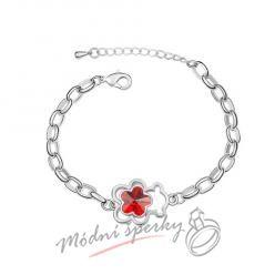 Náramek s krystaly Swarovski Elements medvídek s květinou červenou