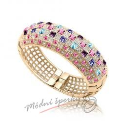 Náramek s krystaly Swarovski Elements giant purple & rose - gold