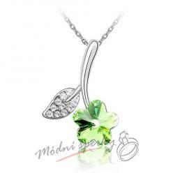 Zelená květinka s krystalem swarovski elements