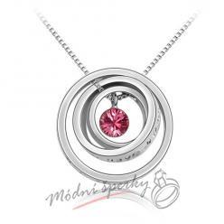 Kruhy s krystalem swarovski elements růžový krystal