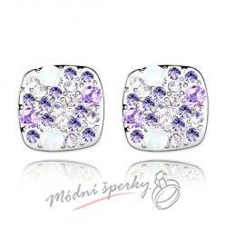 Náušnice fialové kostičky s krystaly swarovski elements