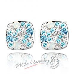 Náušnice modré kostičky s krystaly swarovski elements