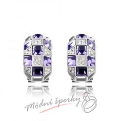 Náušnice fialové kostičky swarovski elements