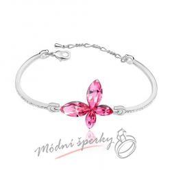 Náramek s krystaly Swarovski Elements butterfly rose