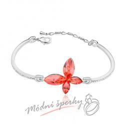 Náramek s krystaly Swarovski Elements butterfly red