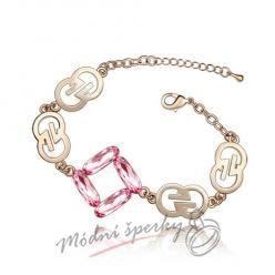 Náramek s krystaly Swarovski Elements gold symbol - rose