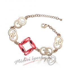 Náramek s krystaly Swarovski Elements gold symbol - red