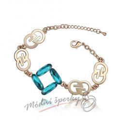 Náramek s krystaly Swarovski Elements gold symbol - dark blue