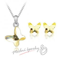 Butterfly yellow set – s krystaly SWAROVSKI ELEMENTS