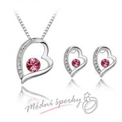 Big heart set pink – s krystaly SWAROVSKI ELEMENTS