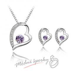 Big heart set fialový– s krystaly SWAROVSKI ELEMENTS