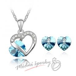 Modrý srdíčko set s krystaly Swarovski Elements
