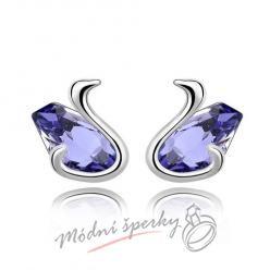 Náušnice fialové labuťky s krystaly swarovski elements