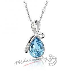 Modrá slza s krystalem swarovski elements
