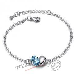 Náramek s krystaly Swarovski Elements heart blue