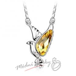 Zlatá holubice se s krystaly SWAROVSKI ELEMENTS