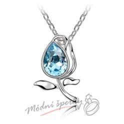 Aquamarínová růže - s krystaly SWAROVSKI ELEMENTS