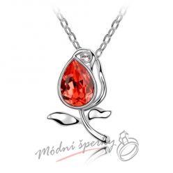 Červená růže - s krystaly SWAROVSKI ELEMENTS