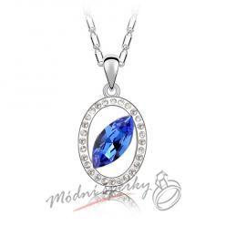 Tmavě modré oko s krystalem swarovski elements