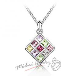 Čtverec s barevnými kamínky - s krystaly SWAROVSKI ELEMENTS